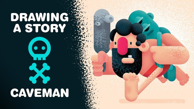 Drawing a STORY, How To Draw a CAVEMAN, Adobe Illustrator CC Tutorial