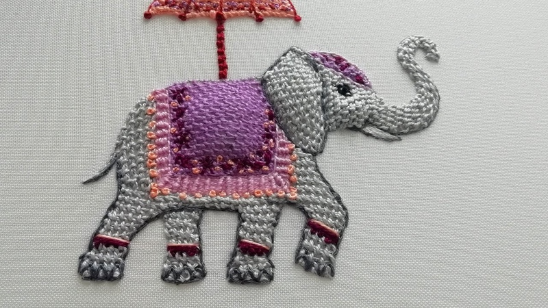 3D Embroidery Indian elephant Buttonhole Filling Detached stitch