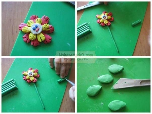 Цветы из пластилина - мастер-класс Приступим к изготовлению цветов. При помощи стека нарежьте белый пластилин на шесть небольших кусочков. Каждый кусочек пластилина скатайте в шарик, приплюсните