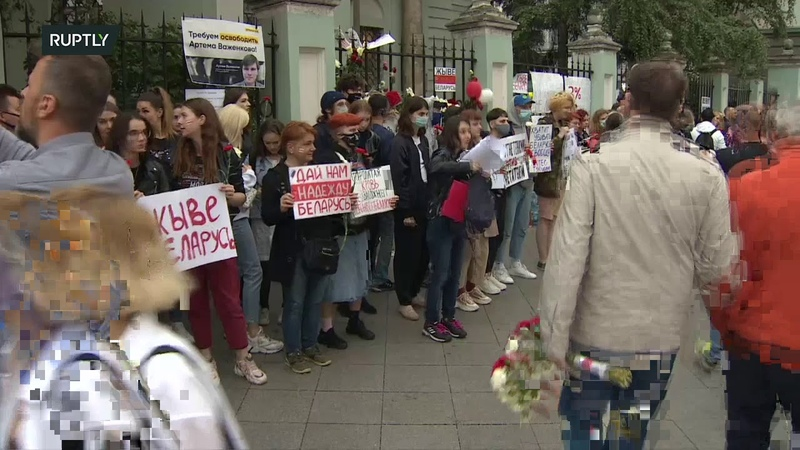 LIVE People gather at Belarusian Embassy in Moscow for third day in row