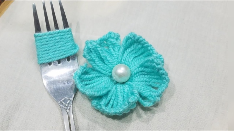 Hand Embroidery Amazing Trick Easy Flower Embroidery Trick Sewing Hack Making Flower with Fork