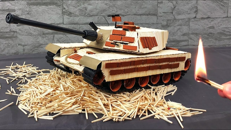 Tank from Matches Matches Chain Reaction Domino Effect