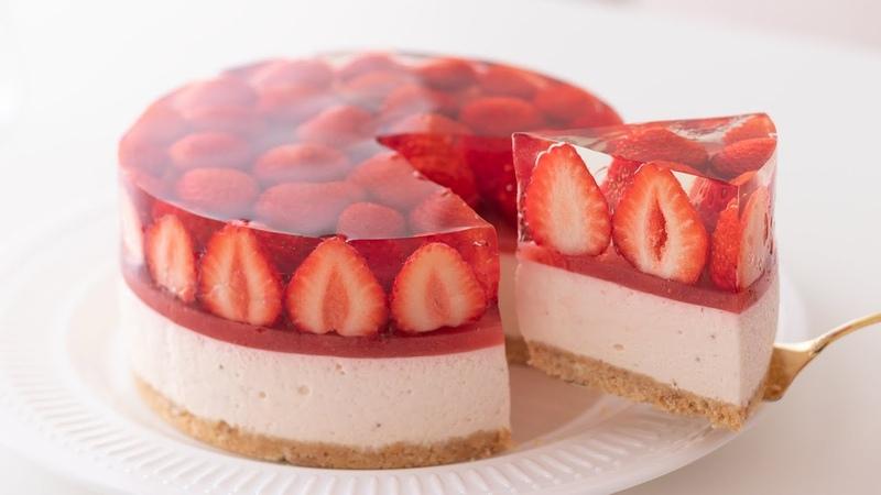 いちごのレアチーズケーキの作り方 No Bake Strawberry Cheesecake*Eggless Without oven|HidaMari Cooking
