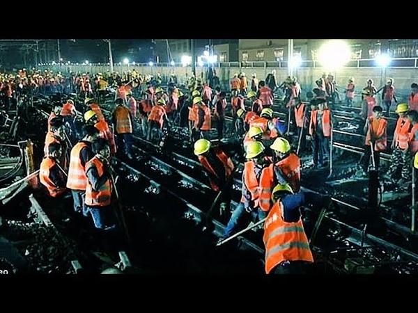 1500 китайцев ПОСТРОИЛИ ЖЕЛЕЗНУЮ ДОРОГУ для нового вокзала за 9 ЧАСОВ