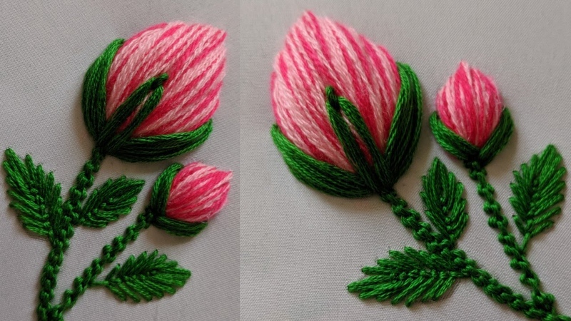 Hand Embroidery 3d Rose flower design Stitch for kurti dress kameez Blouse New Flower peony bud