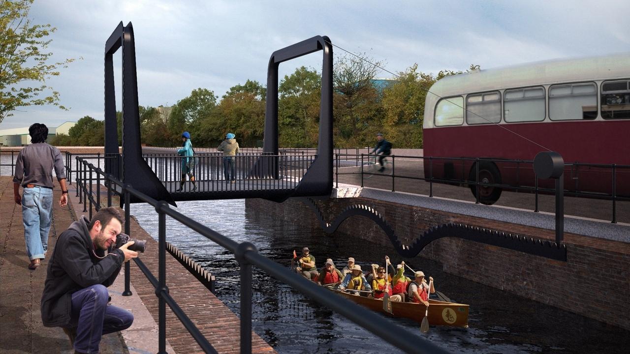 Cody Dock Rolling Bridge собирается возродить бывшую промышленную площадку в восточном Лондоне