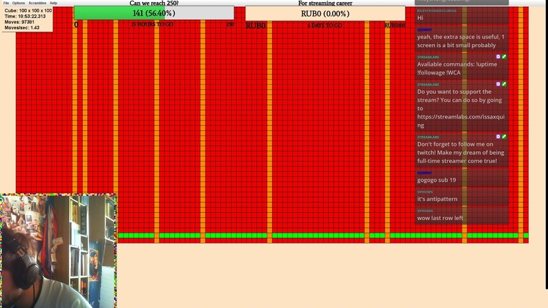 UNOFFICIAL WORLD RECORD 100x100 last moves from livestream