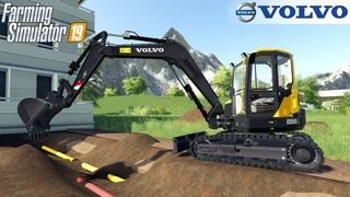 Farming Simulator 19 - VOLVO ECR88D Excavator Digs Sewers To Repair Pipes