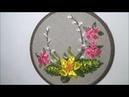 Цветочная композиция вышитая лентами / Floral arrangement embroidered with ribbons