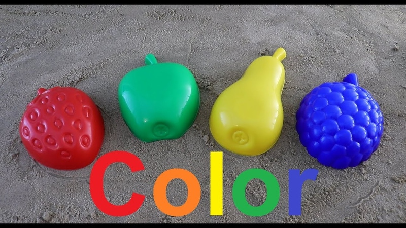 Learn Colors for Children sand molds pear apple Finger Family Song Nursery Rhymes
