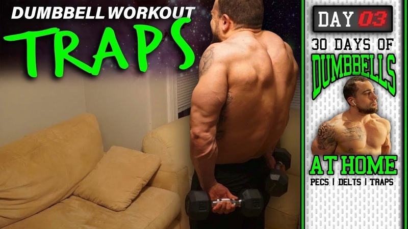 Home Trap Workout with Dumbbells 30 Days to Build Pecs Delts Trap Muscles Dumbbells Only