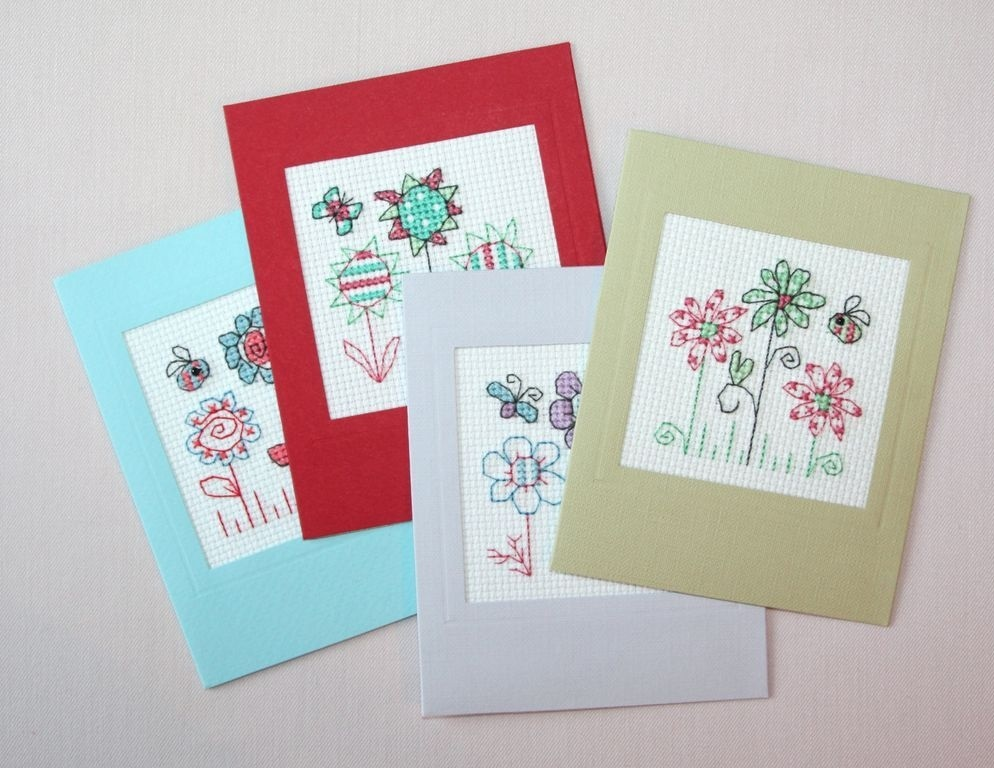 Простые открытки с вышивкой своими руками, анимация