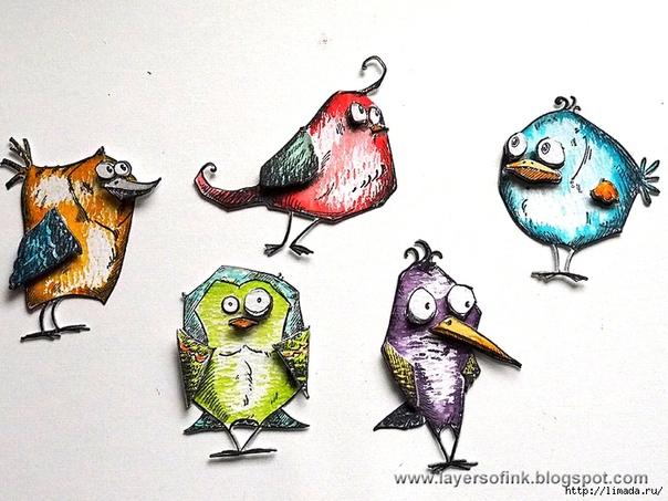 Прикольные птички рисунок, для девушки