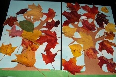 Аппликация с осенними листьями Чтобы сделать с малышами простую аппликация на осеннюю тему, можно использовать листья собранные в парке. Такую простую поделку можно сделать даже с малышами 2-3