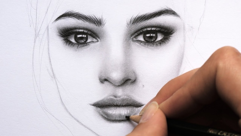 Drawing and Shading a Female Face with Graphite Pencils Portrait of Emily Ratajkowski