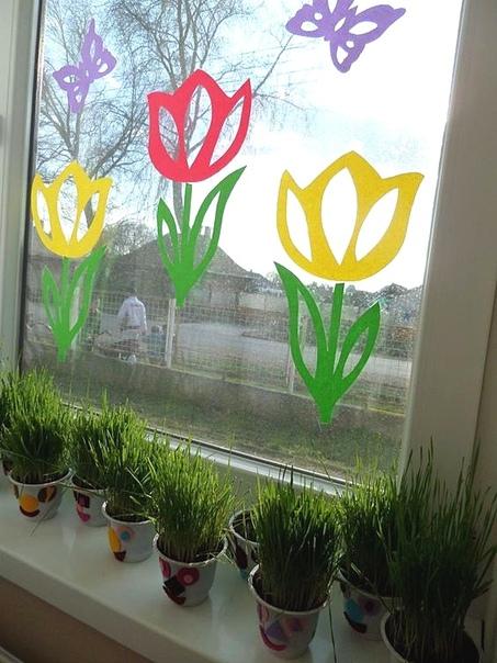 Вытынанки: Весна на окошке Шаблон в формате pdf прилагается.