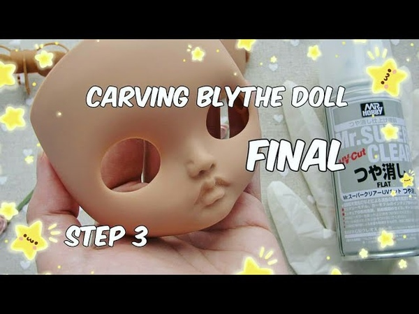 Кастом куклы Блайз. Этап 3. Подготовка к мейкапу/Carving blythe dolls. Step 3. Preparing for make-up