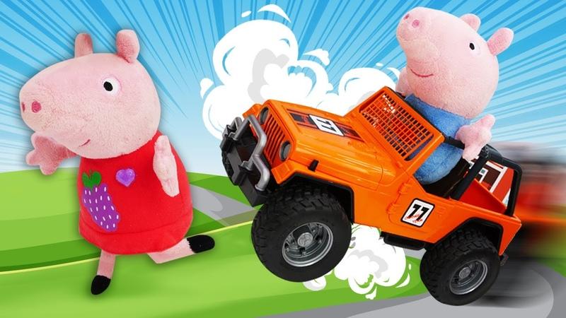 O carro do Papai Pig perdeu o controle Peppa Pig e sua família em português