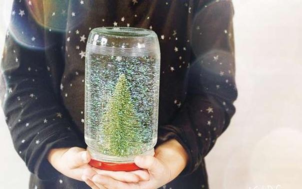 Стeклянный шар со снегом Понадобится: - Стеклянная банка - Дистиллированная вода - Жидкий глицерин - Блеск - Модели елок или прочие предметы - Клей Изготовление: 1. Используя клей, прикрепите