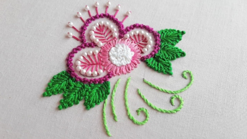 Fancy Flower Embroidery Design for Dress Kurti Hand Embroidery Work
