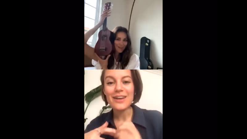 Stefania playing ukulele for Danielle