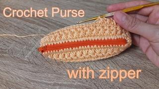 Tutorial - How to Crochet Purse Bag With Zipper | ถักกระเป๋าไหมพรม ลายดอกพิกุล