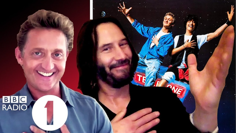 Excellent Bill Ted's Keanu Reeves and Alex Winter on air guitar robot heads and Hamlet
