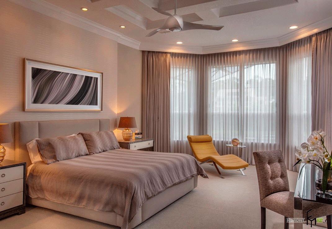 дизайн спальни с эркером фото цветок