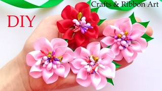 Easy Flower Making  Amazing Kanzashi Flower  DIY Ribbon Flowers - Flores de Fita